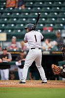 Jupiter Hammerheads third baseman Justin Twine (1) at bat during a game against the Bradenton Marauders on May 25, 2018 at LECOM Park in Bradenton, Florida.  Jupiter defeated Bradenton 3-2.  (Mike Janes/Four Seam Images)