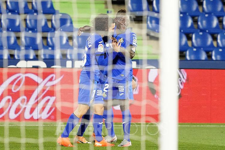 Getafe CF's Marc Cucurella  and Djene Dakonam celebrate goal during La Liga match. September 29,2020. (ALTERPHOTOS/Acero)