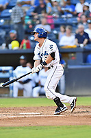 Asheville Tourists second baseman Taylor Snyder (28) swings at a pitch during a game against the Columbia Fireflies at McCormick Field on August 3, 2018 in Asheville, North Carolina. The Fireflies defeated the Tourists 6-3. (Tony Farlow/Four Seam Images)