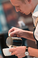 March 15, 2015: Aaron Wood competing in the 2015 Australian Barista Championships at the Showgrounds, Melbourne, Australia. Photo Sydney Low.