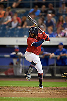 Syracuse Chiefs second baseman Irving Falu (10) at bat during a game against the Buffalo Bisons on September 2, 2018 at NBT Bank Stadium in Syracuse, New York.  Syracuse defeated Buffalo 4-3.  (Mike Janes/Four Seam Images)