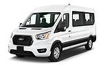 2021 Ford Transit 350 XLT 5 Door Passenger Van angular front stock photos of front three quarter view