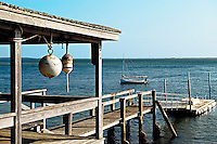 Rustic boathouse and dock, Chatham, Cape Cod, MA, USA
