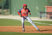 Yasel Antuna (5) of the Hagerstown Suns takes his lead off of first base against the Kannapolis Intimidators at Kannapolis Intimidators Stadium on May 6, 2018 in Kannapolis, North Carolina. The Intimidators defeated the Suns 4-3. (Brian Westerholt/Four Seam Images)