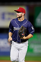 Binghamton Rumble Ponies left fielder Kevin Taylor (12) jogs back to the dugout during a game against the Portland Sea Dogs on August 31, 2018 at NYSEG Stadium in Binghamton, New York.  Portland defeated Binghamton 4-1.  (Mike Janes/Four Seam Images)