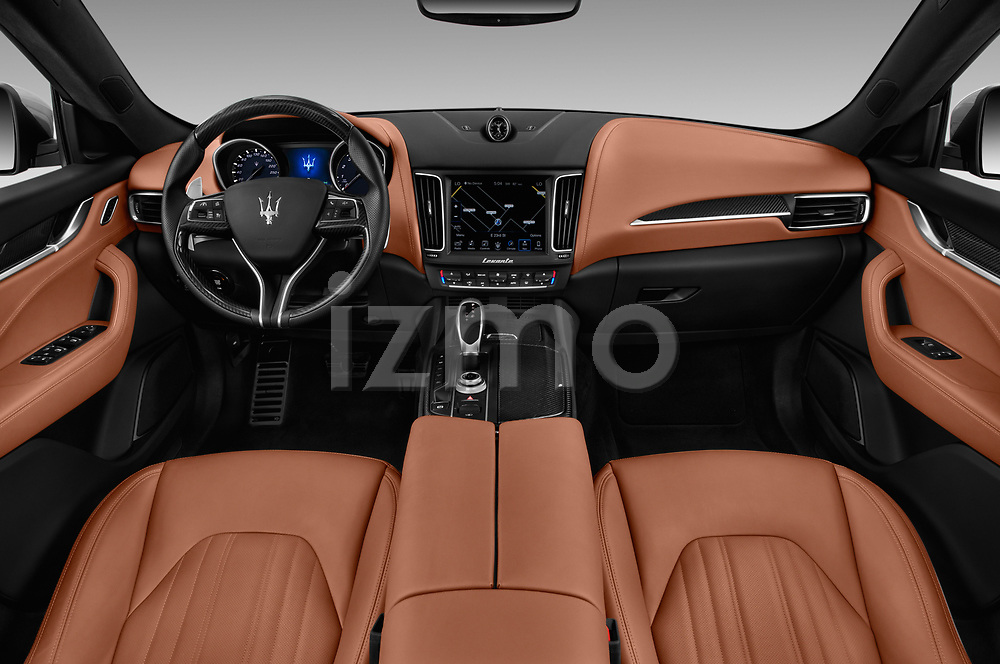 Stock photo of straight dashboard view of a 2018 Maserati Levante Base 5 Door SUV