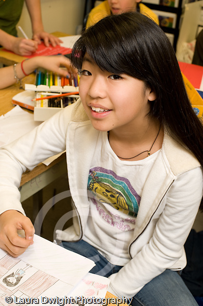 Public Middle School Grade 7 portrait of girl vertical