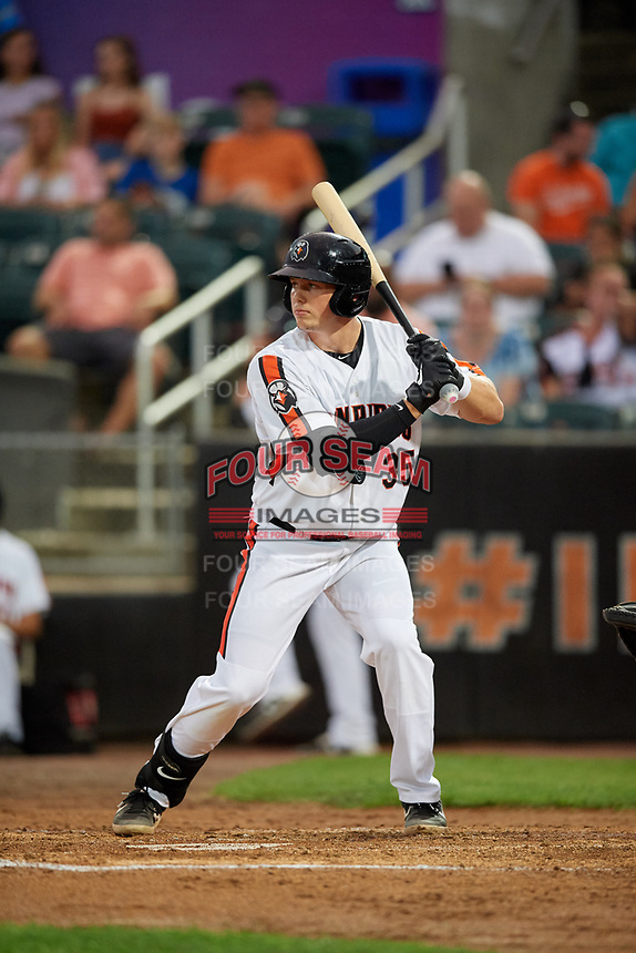 Aberdeen IronBirds Adley Rutschman (35) at bat during a NY-Penn League game against the Vermont Lake Monsters on August 19, 2019 at Leidos Field at Ripken Stadium in Aberdeen, Maryland.  Aberdeen defeated Vermont 6-2.  (Mike Janes/Four Seam Images)
