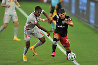 WASHINGTON, DC - SEPTEMBER 12: Joseph Mora #28 of D.C. United battles for the ball with Kyle Duncan #6 of New York Red Bulls during a game between New York Red Bulls and D.C. United at Audi Field on September 12, 2020 in Washington, DC.