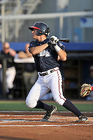 Center fielder J.B. Moss (4) of the Danville Braves bats in a game against the Johnson City Cardinals on Friday, July 1, 2016, at Legion Field at Dan Daniel Memorial Park in Danville, Virginia. Johnson City won, 1-0. (Tom Priddy/Four Seam Images)
