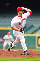 Relief pitcher Taylor Hammack #18 of the Houston Cougars in action against the Baylor Bears at Minute Maid Park on March 4, 2011 in Houston, Texas.  Photo by Brian Westerholt / Four Seam Images