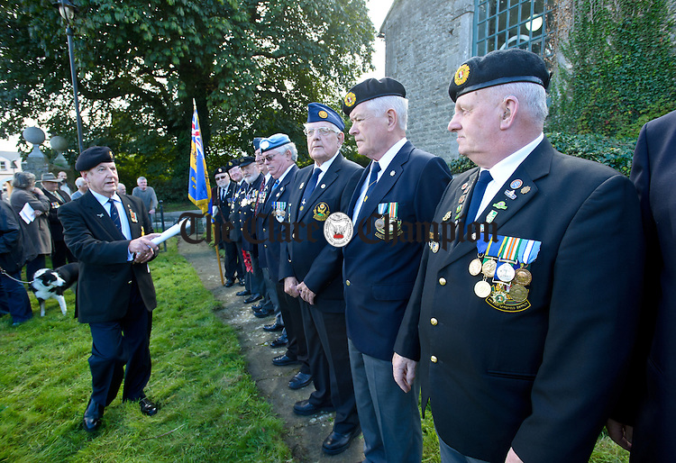 Kevin Milligan, of the British Legion, outlines the brief before a remembrance ceremony, in Sixmilebridge, for Norman Lancelot Ievers who fought in the Battle of Britain 75 years ago. Photograph by John Kelly.