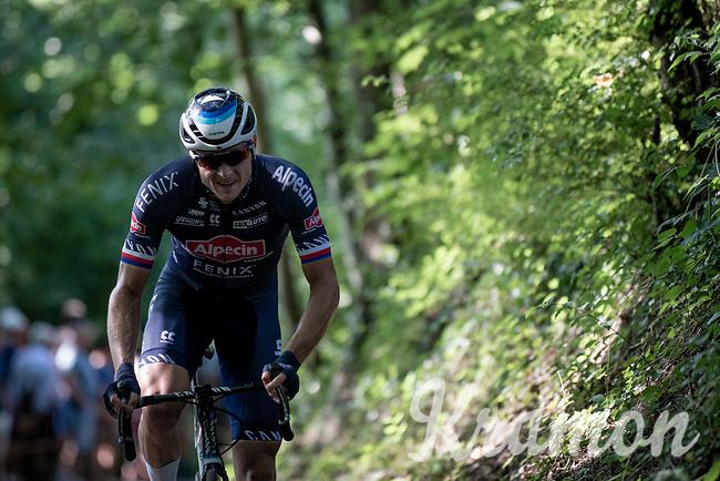 Petr Vakoc (CZE/Alpecin-Fenix) up the infamous Muur van Geraardbergen / Kapelmuur<br /> <br /> 17thBenelux Tour 2021 (2.UWT)<br /> (Final) Stage 7: from Namur to Geraardsbergen (178km)<br /> <br /> ©kramon