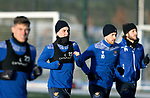 St Johnstone Training…. 29.12.20<br />Danny McNamara running alongside Callum Hendry, David Wotherspoon and Stevie May during training at McDiarmid Park this morning ahead of tomorrows game against Hamilton<br />Picture by Graeme Hart.<br />Copyright Perthshire Picture Agency<br />Tel: 01738 623350  Mobile: 07990 594431