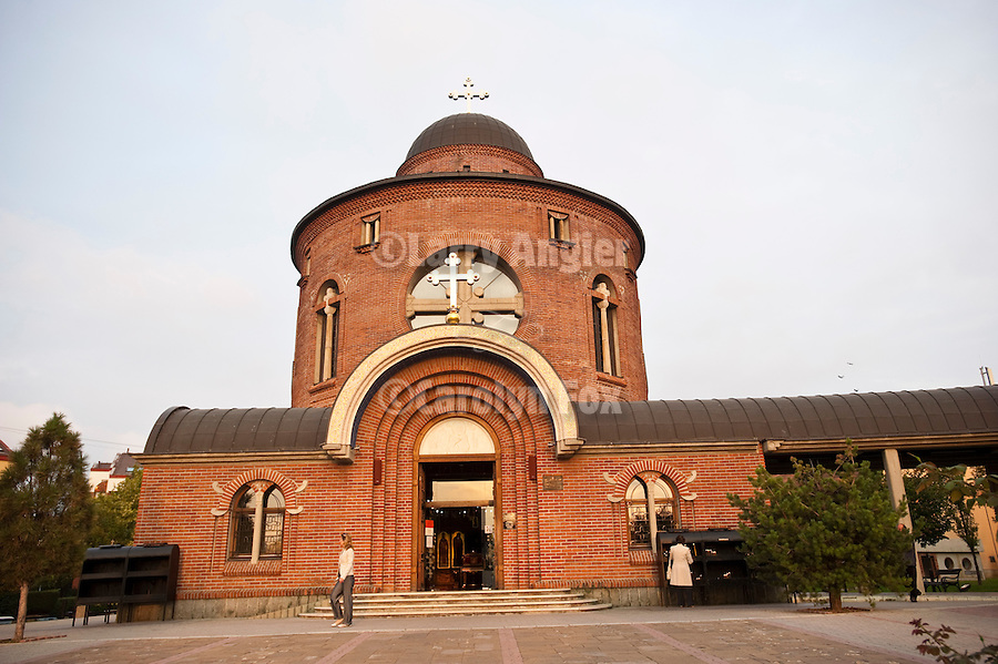 Exterior of St. Vasilija of Ostrog Orthodox Church, Novi Beograd...The church still shows the damage caused by the bombing during the war of NATO aggression
