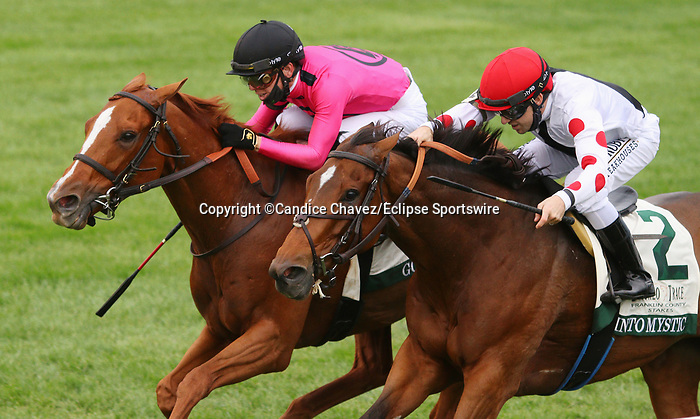Octover 09, 2020 : #10 Got Stormy and jockey Tyler Gaffalione (outside) win the Buffalo Trace Franklin County Grade 3 $150,000 for trainer Mark Casse.  #2 Into Mystic and jockey Joe Talamo (inside) finish 2nd at Keeneland Racecourse in Lexington, KY on October 09, 2020.  Candice Chavez/ESW/CSM