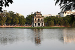 An ancient shrine sits on a small island in the Lake of the Restored Sword in Hanoi, Vietnam. According to legend, Emperor Le Loi was boating on the lake when a giant turtle rose from the lake and stole his magic sword. The turtle descended and the sword was never seen again. The rare creatures are still spotted occasionally in the lake, but are thought to be highly endangered. Nov. 12, 2012.