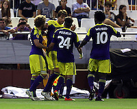 Valencia, Spain. Thursday 19 September 2013<br /> Pictured: Michu of Swansea (2nd L) celebrating his goal with team mates L-R Jose Canas, Alejandro Pozuelo and Wilfried Bony making the score 0-2 to his team<br /> Re: UEFA Europa League game against Valencia C.F v Swansea City FC, at the Estadio Mestalla, Spain,