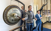 Amsterdam, Netherlands, Februari, 2018, Amsterdam Stock Exchange, AEX, Tournament director of the ABNAMRO world tennis tournament opens the stock exchange with the Bell,   <br /> Photo: Tennisimages/Henk Koster