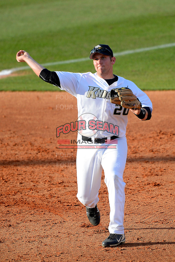 Central Florida Knights third baseman Chris Taladay #20 during a game against the Siena Saints at Jay Bergman Field on February 16, 2013 in Orlando, Florida.  Siena defeated UCF 7-4.  (Mike Janes/Four Seam Images)