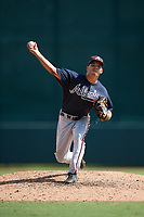 Atlanta Braves pitcher Troy Bacon (19) delivers a pitch during an Instructional League game against the Baltimore Orioles on September 25, 2017 at Ed Smith Stadium in Sarasota, Florida.  (Mike Janes/Four Seam Images)