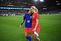 Saint Paul, MN - SEPTEMBER 03: Christen Press #23 and Lindsey Horan #9 of the United States Celebrate during their 2019 Victory Tour match versus Portugal at Allianz Field, on September 03, 2019 in Saint Paul, Minnesota.