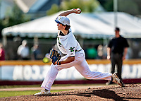 20 June 2021: Vermont Lake Monsters pitcher Patrick Harrington, from Bedford NH, on the mound against the Westfield Starfires at Centennial Field in Burlington, Vermont. The Lake Monsters fell to the Starfires 10-2 at Centennial Field, in Burlington, Vermont. Mandatory Credit: Ed Wolfstein Photo *** RAW (NEF) Image File Available ***