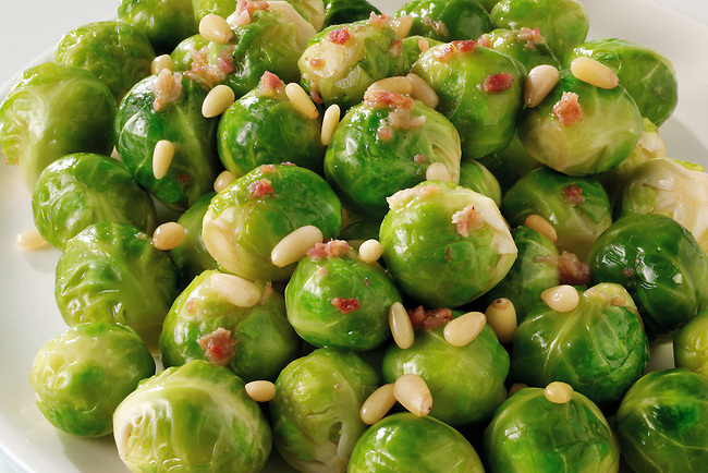 Brussels, bacon & pine nuts