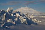 Pressure ridges in sea ice near Scott Base. Mount Erebus in Background. Ross Island. Antarctica.