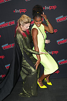 """NEW YORK CITY - OCTOBER 9:  Amber Tamblyn and Ashley Romans attend a 2021 New York Comic Con event for FX's """"Y: The Last Man"""" at the Javits Center on October 9, 2021 in New York City.  (Photo by Ben Hider/FX//PictureGroup)"""