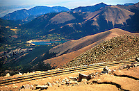 View from Pikes Peak, Rocky Mountains, Colorado, USA.