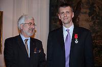 Moscow, Russia, 14/03/2011..Russian billionaire businessman Mikhail Prokhorov and ambassador Jean de Gliniasty after the ambassador awarded Prokhorov the Legion of Honour.