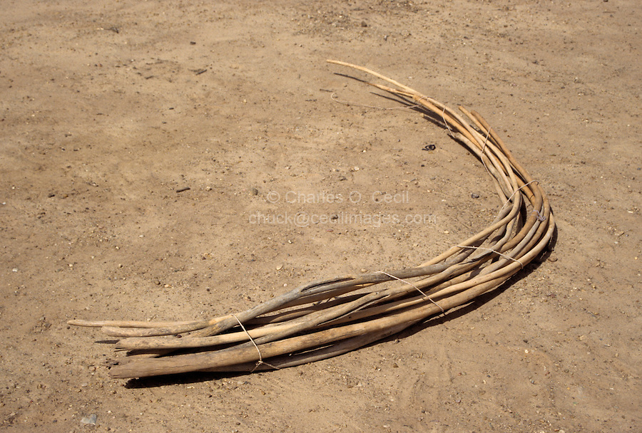 Akadaney, Central Niger, West Africa.  Fulani Nomads.  Bundle of curved sticks to form frame of covered sleeping enclosure.