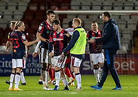 Bolton Wanderers' head coach Ian Evatt (right) congratulates his players at the end of the match <br /> <br /> Photographer Andrew Kearns/CameraSport<br /> <br /> The EFL Sky Bet League Two - Stevenage v Bolton Wanderers - Saturday 21st November 2020 - Lamex Stadium - Stevenage<br /> <br /> World Copyright © 2020 CameraSport. All rights reserved. 43 Linden Ave. Countesthorpe. Leicester. England. LE8 5PG - Tel: +44 (0) 116 277 4147 - admin@camerasport.com - www.camerasport.com