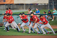 Billings Mustangs players run team sprints before a game against the Ogden Raptors at Lindquist Field on August 18, 2018 in Ogden, Utah. Billings defeated Ogden 6-4. (Stephen Smith/Four Seam Images)