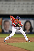 Fort Myers Miracle shortstop Engelb Vielma (7) throws to first during a game against the Tampa Yankees on April 15, 2015 at Hammond Stadium in Fort Myers, Florida.  Tampa defeated Fort Myers 3-1 in eleven innings.  (Mike Janes/Four Seam Images)