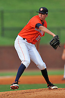 Greenville Astros starting pitcher Jordan Mills #29 delivers a pitch during a game against the Kingsport Mets at Pioneer Park on August 4, 2013 in Greenville, Tennessee. The Astros won the game 17-1. (Tony Farlow/Four Seam Images)