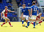 St Johnstone v Fleetwood Town…24.07.21  McDiarmid Park<br />Liam Gordon passes to Craig Bryson<br />Picture by Graeme Hart.<br />Copyright Perthshire Picture Agency<br />Tel: 01738 623350  Mobile: 07990 594431