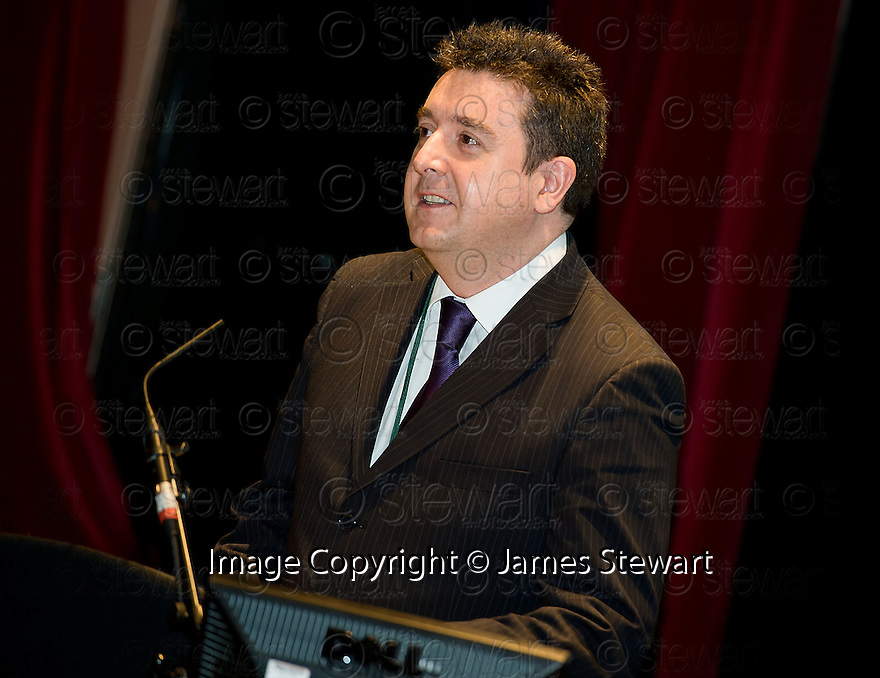 Councillor Adrian Mahoney, Convenor of Economic Strategy & Development Committee, at the Falkirk Business Panel Update Event 2012, Falkirk Town Hall...