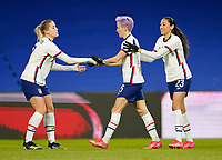 LE HAVRE, FRANCE - APRIL 13: Megan Rapinoe #15  of the United States scores a PK goal and celebrates during a game between France and USWNT at Stade Oceane on April 13, 2021 in Le Havre, France.