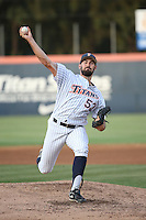 Blake Quinn (53) of the Cal State Fullerton Titans pitches against the University of San Diego Toreros at Goodwin Field on April 5, 2016 in Fullerton, California. Cal State Fullerton defeated University of San Diego, 4-2. (Larry Goren/Four Seam Images)
