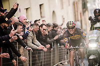 belgian National Champion Yves LAMPAERT (BEL/Deceuninck-Quick Step) up the infamous, brutal last city climb towards the finish<br /> <br /> <br /> <br /> 13th Strade Bianche 2019 (1.UWT)<br /> One day race from Siena to Siena (184km)<br /> <br /> ©kramon