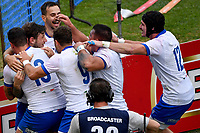 Matteo Minozzi of Italy (2L) celebrates with teammates after scoring a try during the rugby Autumn Nations Cup's match between Italy and Scotland at Stadio Artemio Franchi on November 14, 2020 in Florence, Italy. Photo Andrea Staccioli / Insidefoto