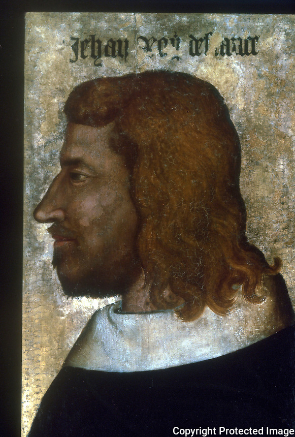 Paintings:  Portrait of Jean II Le Beau, about 1360.  On wood panel.  Louvre.  Reference only.