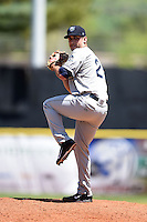 Mobile BayBears pitcher Kaleb Fleck (25) delivers a pitch during a game against the Huntsville Stars on April 23, 2014 at Joe Davis Stadium in Huntsville, Tennessee.  Huntsville defeated Mobile 4-1.  (Mike Janes/Four Seam Images)