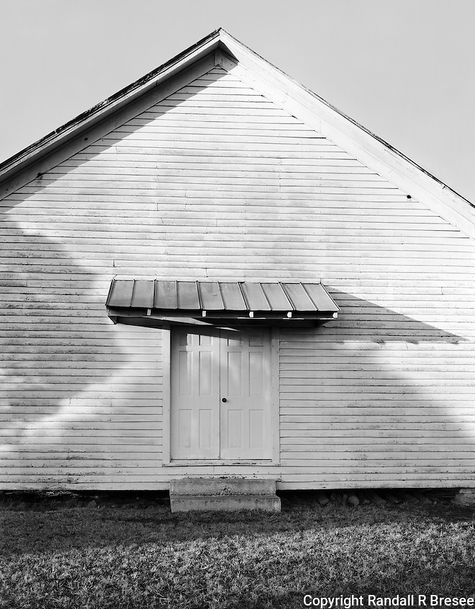 """""""Tennessee Church"""" <br /> Tennessee<br /> <br /> This black and white photograph shows the door in an old church in Tennessee."""