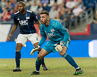 FOXBOROUGH, MA - JULY 28: Matt Turner #30 anticipates a shot during a game between Orlando City SC and New England Revolution at Gillette Stadium on July 27, 2019 in Foxborough, Massachusetts.