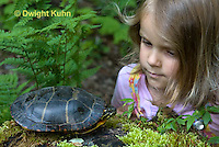 1R14-500z  Child looking at Painted Turtle - Chrysemys picta,  PRA.