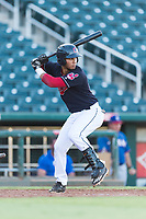 AZL Indians 1 first baseman Miguel Jerez (26) at bat during an Arizona League playoff game against the AZL Rangers at Goodyear Ballpark on August 28, 2018 in Goodyear, Arizona. The AZL Rangers defeated the AZL Indians 1 7-4. (Zachary Lucy/Four Seam Images)