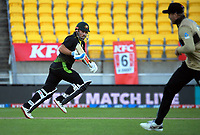 Australia's Aaron Finch takes a single during the 4th international men's T20 cricket match between the New Zealand Black Caps and Australia at Sky Stadium in Wellington, New Zealand on Friday, 5 March 2021. Photo: Dave Lintott / lintottphoto.co.nz